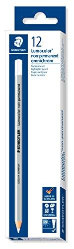 Staedtler Lumocolor 108-0. Lápices de madera de color blanco. Caja con 12 unidades.