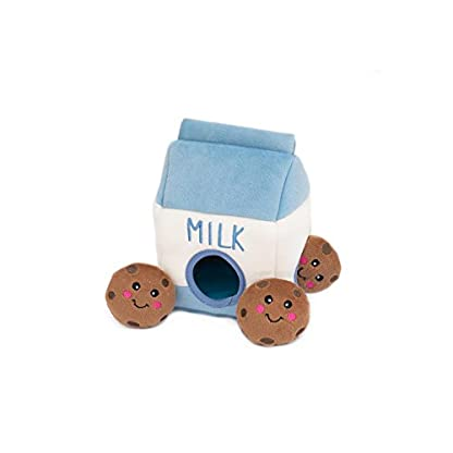 ZippyPaws - Food Buddies Burrow, Interactive Squeaky Hide and Seek Plush Dog Toy - Milk and Cookies 1