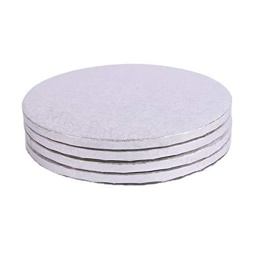 Miss Bakery's House® Cake Drum - 12 mm - Ø 34 cm - Silber - 4 Stück - Hochzeit Kunststoff-platten