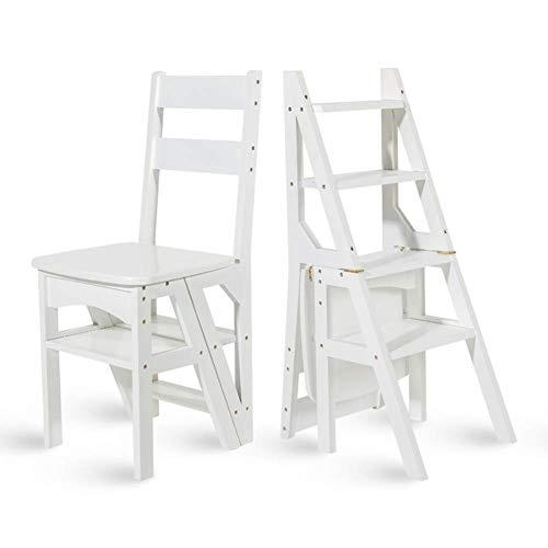 Geyao American Solid Wood Zweifach verwendbarer Treppenstuhl Herringbone Ladder Multifunktions-Tritthocker Vierschichtige Kletterleiter Home Klappstuhl 46x39.5x90cm (Color : White)