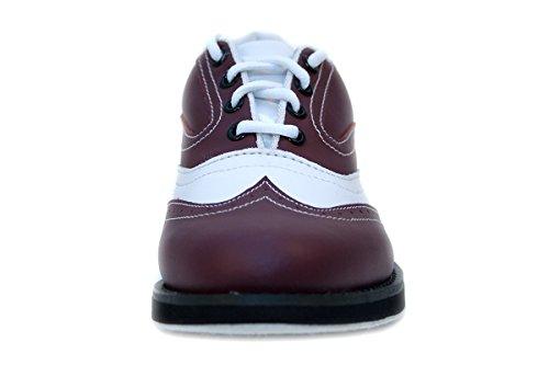 Bowlio Pro Series Strike Brown - Chaussures de bowling en cuir noir et bordeaux - Adulte et enfant Rotbraun