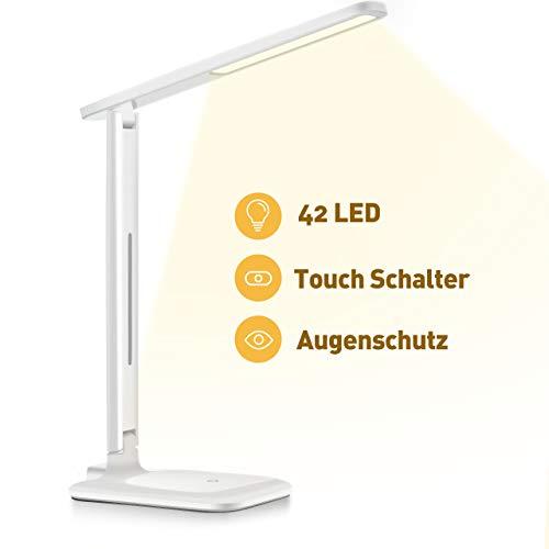 VICTSING Schreibtischlampe 42 LED,Beleuchtung Leselampe,LED Dimmbare Tischleuchte 3 Farb und 3 Helligkeitsstufen Augenfreundliche Nachttischlampe,Leselicht ideal für Leser, Kinder, Büro, Weiß