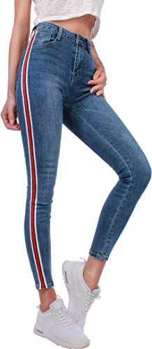 Damen Hochschnitt 7/8 Streifen Stretch Jeans XS S M L XL Blau Damen Skinny Röhrenjeans E7-2a (XS / 34) True Black Jeans