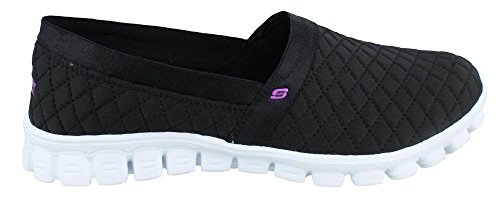 Women's Skechers, EZ Flex 2 Bankroll Slip on casual BLACK / WHITE 7.5 M Black / White