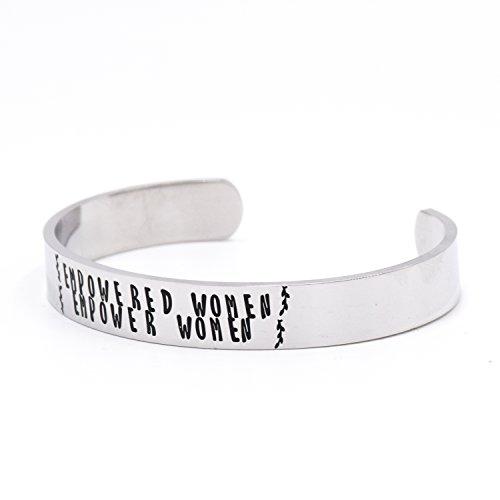 Imagen de lparkin  pulsera de acero inoxidable con grabado, de metal, para mujer, con texto «empowered women, empower women» alternativa