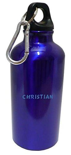 Personalisierte Wasserflasche mit Karabiner mit Text: Christian