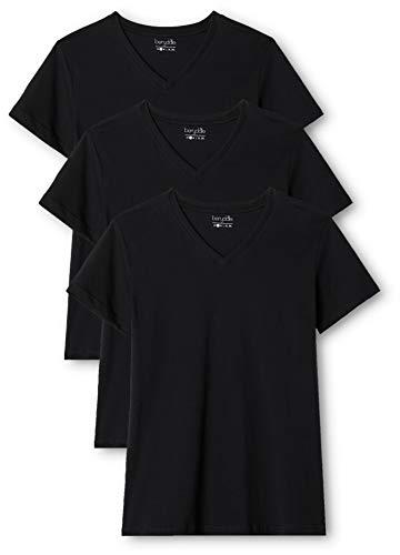 Berydale Damen T-Shirt mit V-Ausschnitt, 3er Pack, Schwarz, XL - Shirt Schwarz V-schnitt
