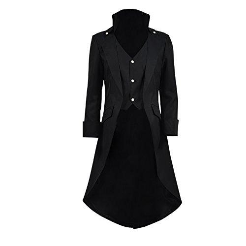teampunk Vintage Frack Jacke Gothic viktorianischen Frock Mantel Uniform Kostüm (Schwarz, XL) (Besten Vampir-kostüm)