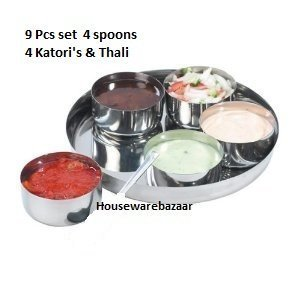 Housewarebaar 9 Piece Relish BBQ Pickle Sauce Chutney,Dip Server Dishes in Stainless Steel Thali & Big Katoris(Bowls) by Master Cook Relish-server