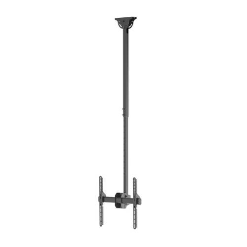 "TooQ LPCE1155TSLI-B - Soporte de techo extensible, inclinable y giratorio para monitor/TV/LED de 32"" a 55"", rotacion de 360º, hasta 50 Kg de peso, ajustable entre 1060mm y 1560mm,VESA hasta 400x400, color negro"