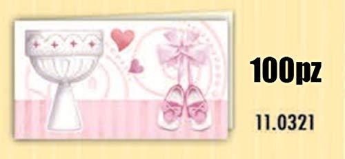 100 PZ Bigliettini bigliettino bomboniera rosa BATTESIMO bambina con sca
