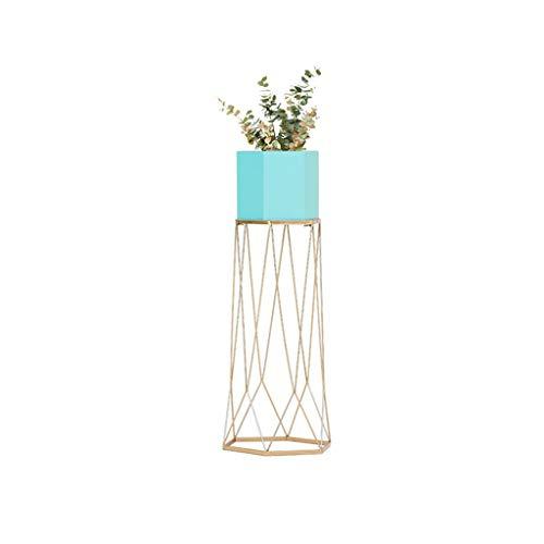 Flower Stands Plant Display Schmiedeeisen Blumentopf Rack Pflanze Indoor und Outdoor kreative Wohnzimmer Balkon Schlafzimmer hängen Orchidee Boden stehende dekorative Rahmen Sechseck ( Color : Blue )