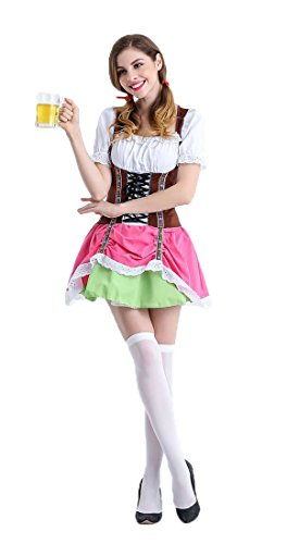 Honeystore Damen Halloween Kostüme The Munich Oktoberfest Fashion Uniform Cosplay Allerheiligen Kleider für Oktoberfest Rosa M