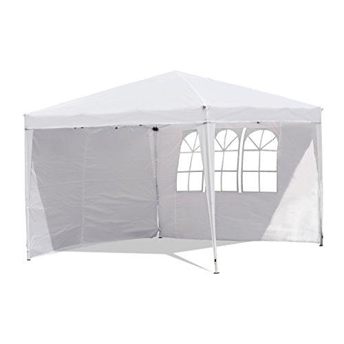 Sekey Garten Pavillon 3 x 3 m Faltpavillon einsetzbar als Gartenpavillon, Party- und Festzelt, Camping- und Festival-Zelt, Gartenmöbel ,Gartenlauben ,Wasserdicht, mit zwei,Seitenwänden,weiß