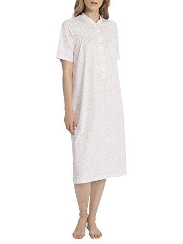 Calida - Camicia manica corta da donna con collo alla coreana a serafino in 100% cotone, , Rosa da sposa
