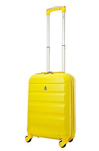 Aerolite ABS Bagage Cabine à Main Valise Rigide Léger 4 Roulettes, Jaune
