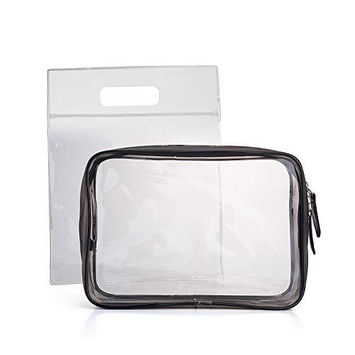 MOCOCITO Borse da Toilette Trasparente Approvata Secondo le Regolamentazioni UE e UK sul Bagaglio a Mano(20cm x 20 cm) |Borsetta da Trucco Trasparente con Zip |Trousse per Make Up