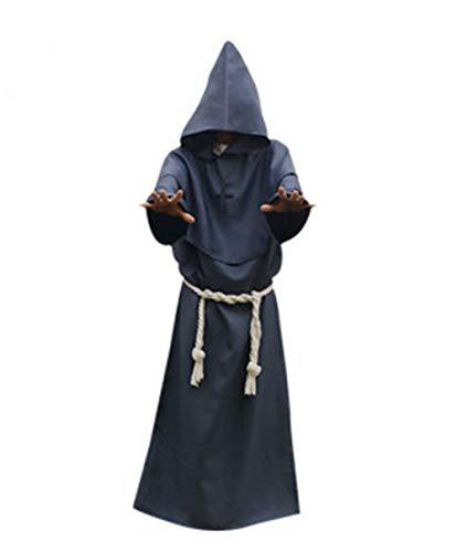Halloween Cosplay Costume Antico Abito Decorazione Monaco Tuta Strega Tuta Prete Cos Abbigliamento,Gray,S