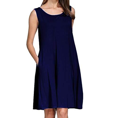 Fcostume Damen Sommerkleid, Mode Plus Size Kurzarm Oansatz Ärmelloses Lose Casual Kleid