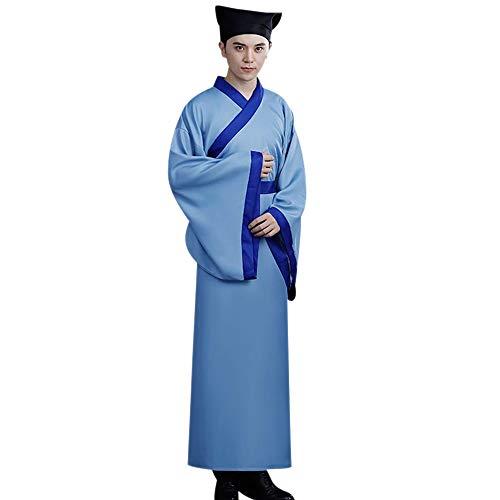 BOZEVON Uralt Chinesisches Kostüm - Männer Traditionell Hanfu Klassik Elegant National Kleidung Uralt Chinesischer Stil Cosplay Abschluss Kostüm, Blau, EU S = Tag - Traditionelle Chinesische Frau Kostüm