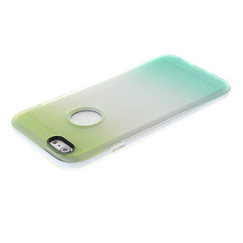 iPhone 6 Coque,COOLKE [Blue Jaune] Un changement graduel TPU Silicone Housse Coque Etui Gel Case Cover Pour Apple iPhone 6 (4.7 Inch) Vert bleu