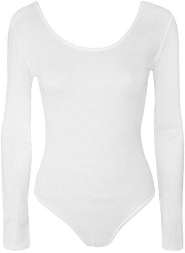 Sofias Closet Damen Uni Stretch Long Sleeve Body rund Neck Gymnastikanzug Top Weiß - Weiß
