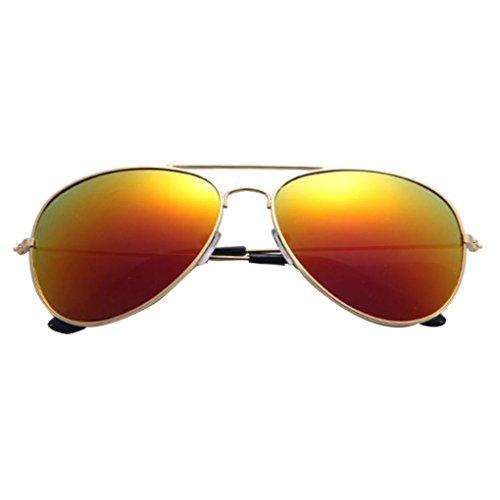 Moonuy Chaud Hommes et femmes Classic Metal Designer Incassable Sunglasses New Lunettes de Soleil Pilot pour Unisex Gold Green Lunettes de Soleil de Conduite avec Monture en Métal (E)