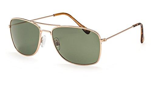 Filtral Eckige Herren-Sonnenbrille / Klassische Sonnebrille mit goldenem Metallrahmen und doppeltem Nasensteg F3022608