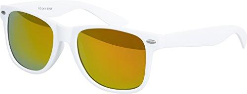 Balinco Original UV400 CAT 3 CE Vintage Unisex Retro Wayfarer Sonnenbrille - verschiedene Farben in Einzel - Doppelpack & Dreierpack wählbar (Einzelpack - Rahmen: Weiß Matt, Gläser: Rot verspiegelt)