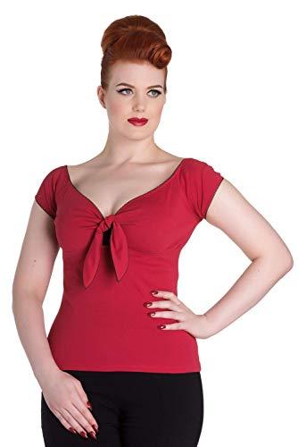 Hell Bunny Bardot Rockabilly 50er Bluse Top - Rot (S - 36) - Damen Nautische Streifen-shirt