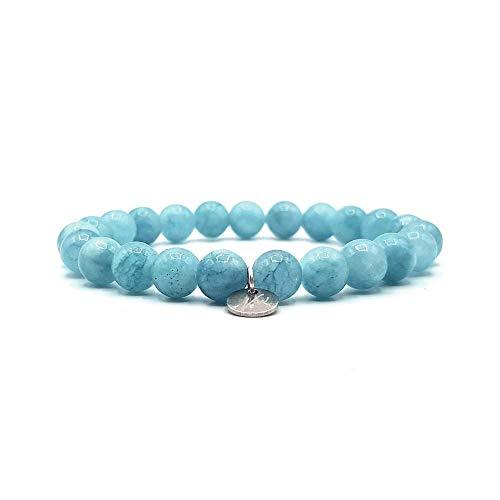 KARDINAL WEIST Aquamarin Armband, Edelstein Perlen, Kraftstein Schmuck für Damen und Herren, Chakra - Glücksbringer - Freundschaft (1 - Aquamarin)