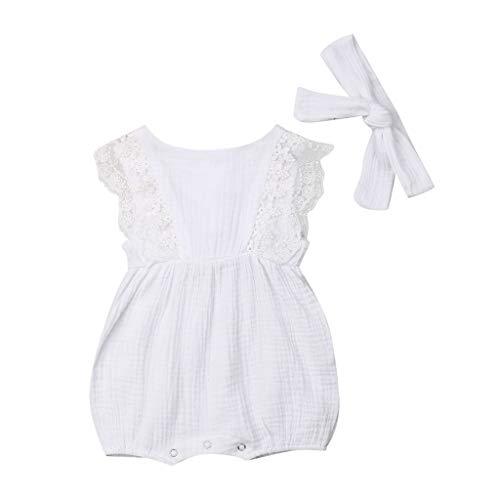 Knowin-baby body Sleeveless Normallack-Spitze-Kurzhaar-Bügel-Overall-Overall der Kinder Säugling Kinder Baby Mädchen Spitze gekräuselten Strampler Bodysuit Haarband Outfit Sommer