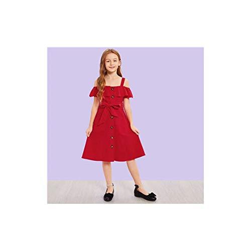 Kiddie Cold Shoulder Ruffle Trim Belted Boho Shirt Dress Kids 2019 Summer Button Front High Waist Knee Length Dress Red 10T -