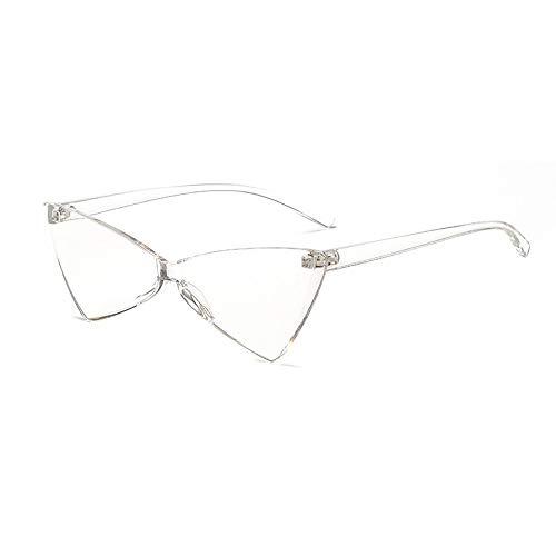 QXWSZ Herren Sonnenbrillen Polarisierte Sonnenbrillen New Triangle Cat Eye Sonnenbrillen Einen Spiegel BogenföRmigen Weiblichen Candy Color Street Beat Brille,White