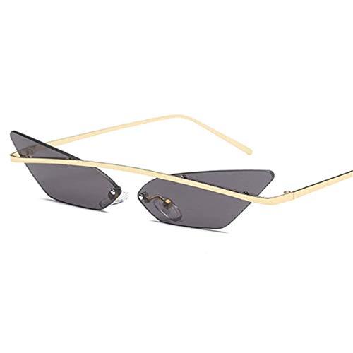 Jeewly Klassische Sportsonnenbrille, Women Men Cat Eye Sunglasses Narrow Vintage Metal Mirror Lens Eyewear Men UV400