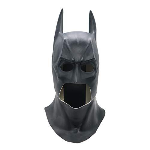 QWEASZER Justice League Batman Masken Realistische Halloween Vollgesichts Latex Batman Muster Maske Kostüm Party Masken Karneval Cosplay Requisiten,Black-OneSize