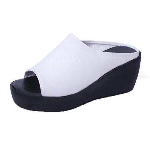 p Flop, FNKDOR Plateau Slipper Zehentrenner Pantoletten Schuhe (35, Weiß) ()