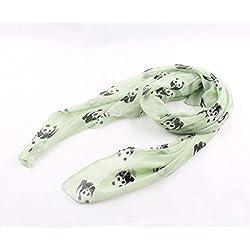 FENICAL Señora de Las Mujeres Lovely Panda Print Casual Pañuelos Chal Bufanda de rectángulo de Voile (Gris)