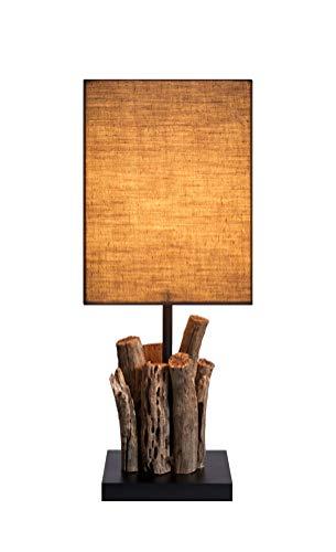 Holz Lampe 2er Set Echtholz Handarbeit mit Baumwollschirm ca. 15 x 15 x 40 cm Modell Perifere Midi Tischlampe Tischleuchte Nachttischlampe -