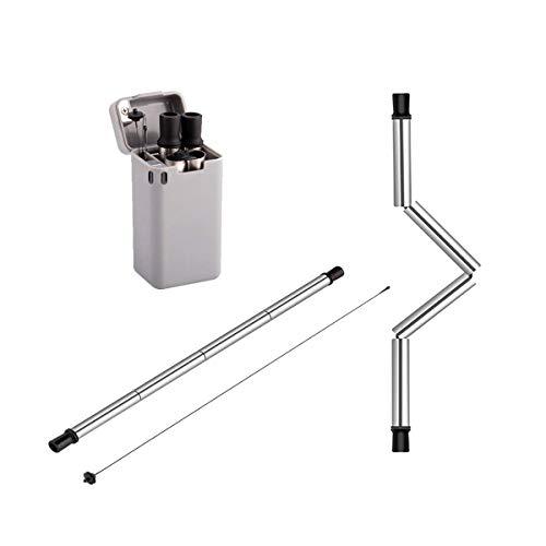 ILS - Edelstahl zusammenklappbares Wiederverwendbare Stroh tragbare Falten Stroh w/Fall-Halter-Silikon-Tipps