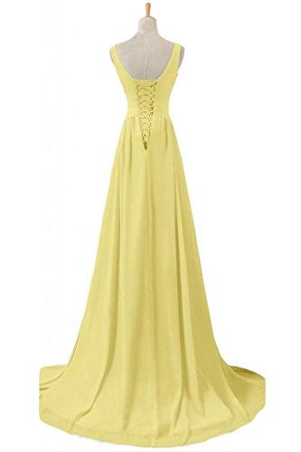 Sunvary donna in Chiffon con cinghie per Spaghetti Pfrom per abiti da sera, con scollo a V Narciso