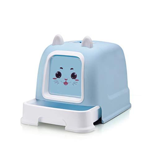 Wcx Katzentoilette Toiletten-Katzen-Wanne voll geschlossener Katzenklo/mit Kapuze, groß, spritzwassergeschützt, hygienisch, geruchsfrei (Farbe : Blau, größe : 52.5x40.5x40cm) (Große Kapuzen Katzenklo)