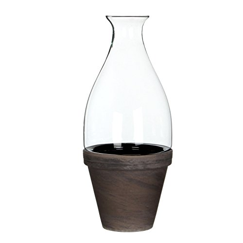 Mica Decorations 147534 Cloche Ronde Fedde Verre H41d17.5 Transparent Avec Basalt Pot Dans Giftbox