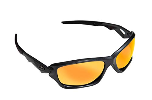 Rayzor Professionelle Leichte UV400 Gun Metal Grau Sports Wrap Laufen Sonnenbrille, mit einem roten Iridium Mirrored Blend Lens.