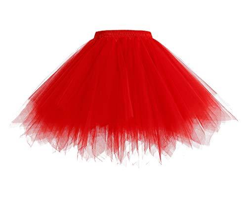 HomRain Mujer Faldas Tul Enaguas Tutu Enagua Underskirt para Rockabilly Vestidos Red XL