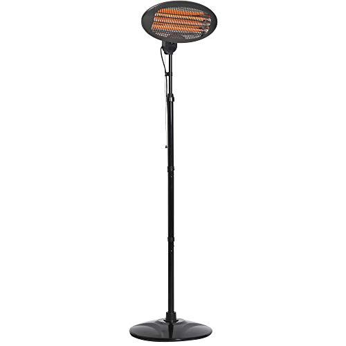 Outsunny Lampada Riscaldante per Esterno Giardino con 3 Barre Alogene Stufa Elettrica Altezza Regolabile Potenza a 3 Livelli 650W/1300W/2000W