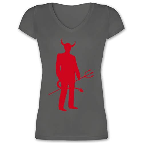 XS - Anthrazit - XO1525 - Damen T-Shirt mit V-Ausschnitt ()