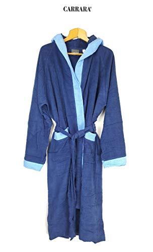 Carrara Bademantel für Damen mit Kapuze aus Reiner Baumwolle (Blau Größe XXL)