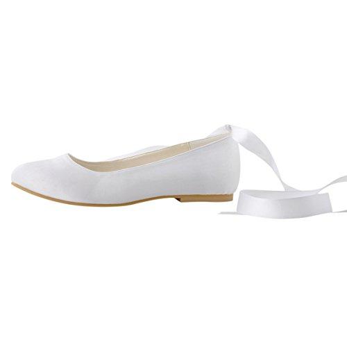 ElegantPark EP11105 Scarpe da sposa scarpe chiuse donna Bianco