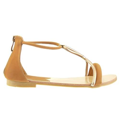 Angkorly - damen Schuhe Sandalen - T-Spange - String Tanga Blockabsatz 1 CM Camel